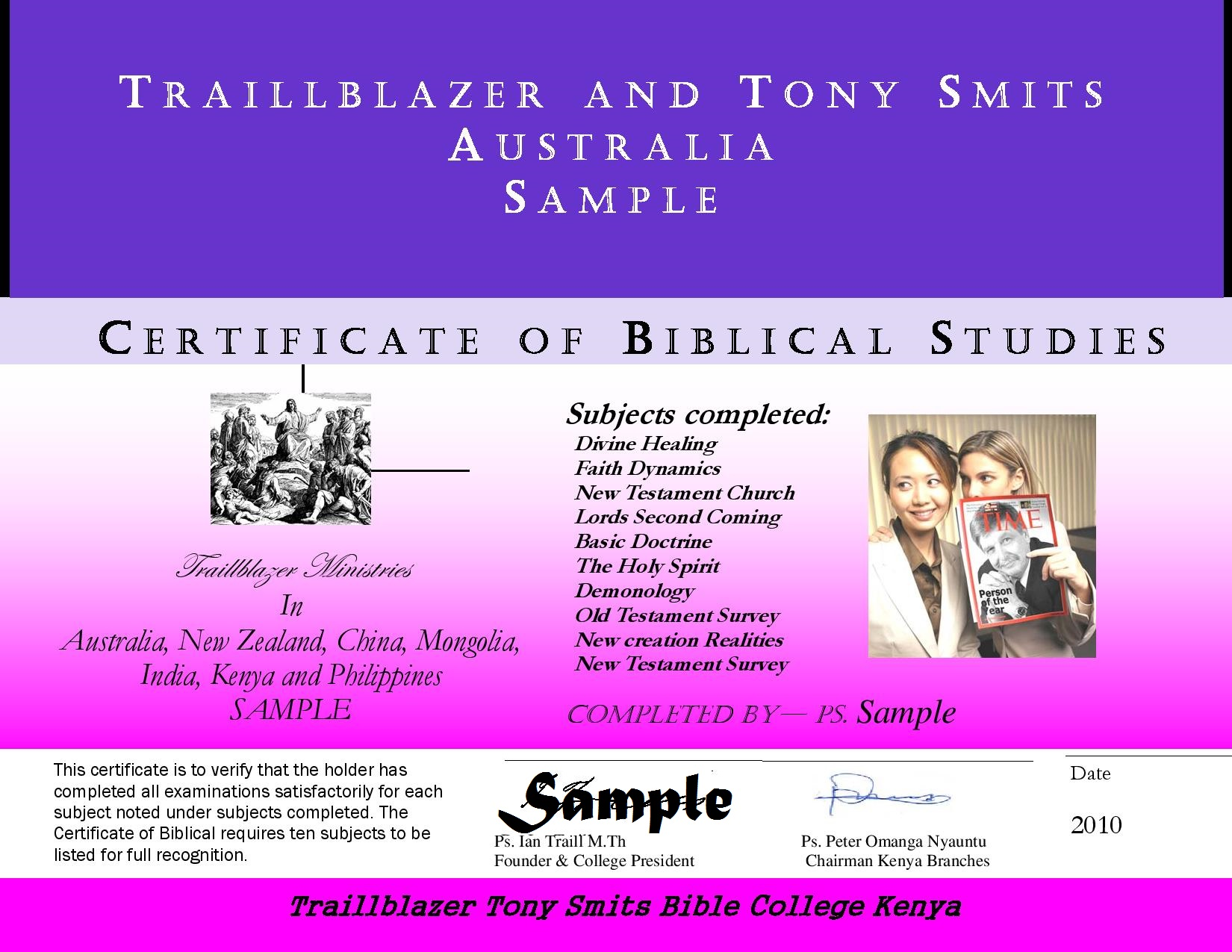 Year 1 certificate of biblical studies traillblazer ministries sample of new certificate page 001 yadclub Choice Image