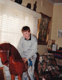 Joshua Traill on horse that Ian made in Creswick